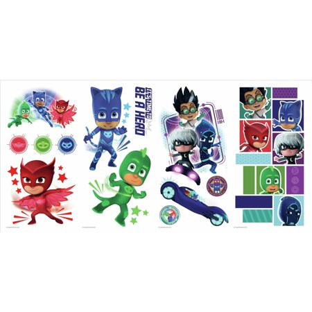 Repositionable Stick - York Wallcoverings RMK3586SCS RoomMates 13 Piece PJ Masks Repositionable Peel and Stick Wall Decals