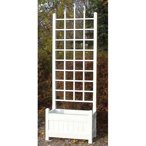 Dura-Trel 5-Foot White Rectangle Vinyl Camelot Planter Box with Trellis