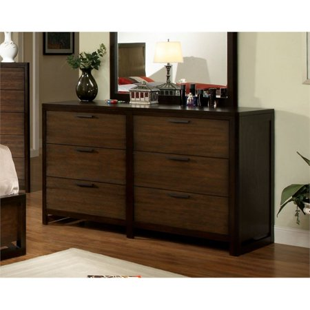 Furniture of America Gioia 6 Drawer Dresser in Dark Brown (Dj Dresser)