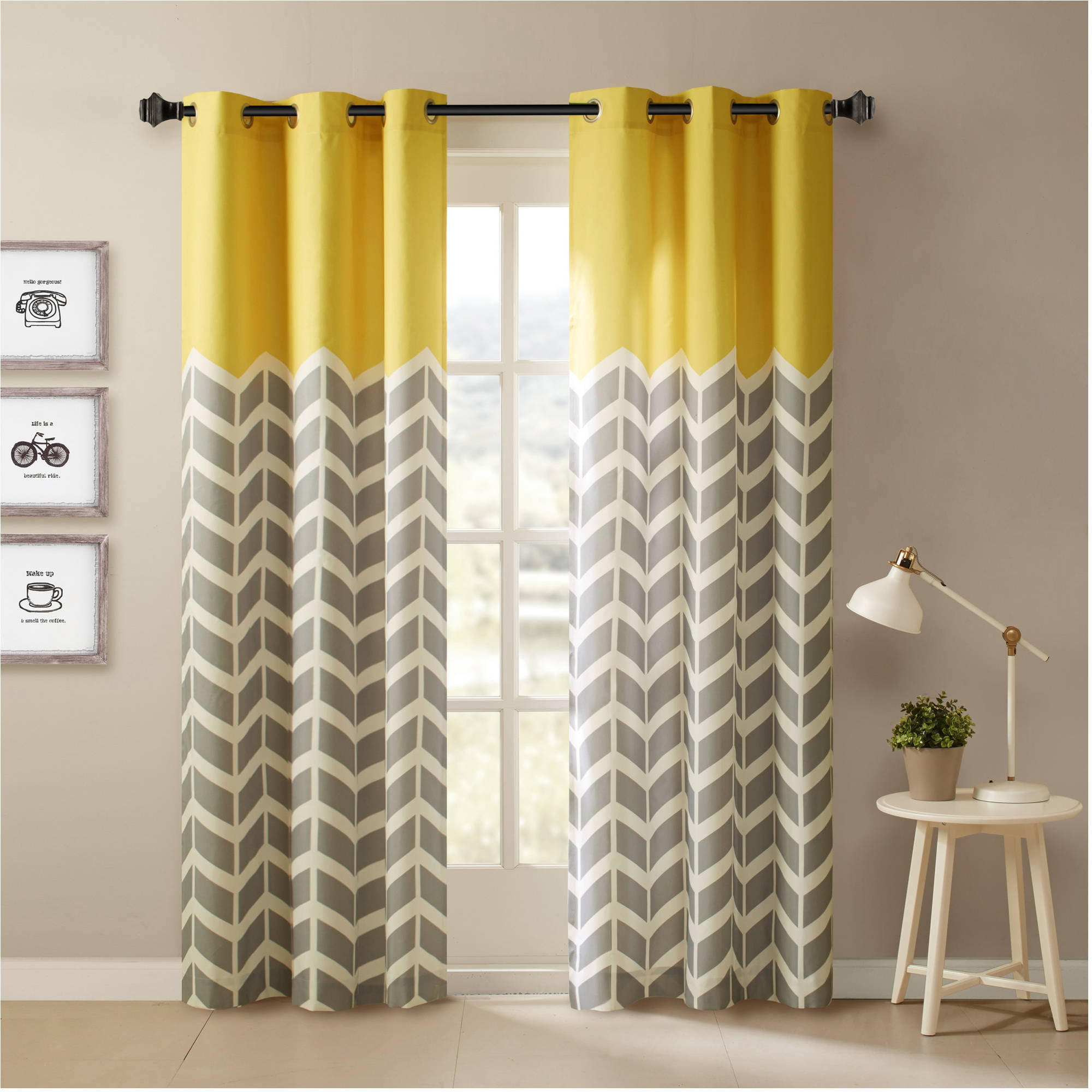 Yellow modern curtain panels - Home Essence Apartment Elaine Chevron Printed Grommet Top Panel Pair Walmart Com
