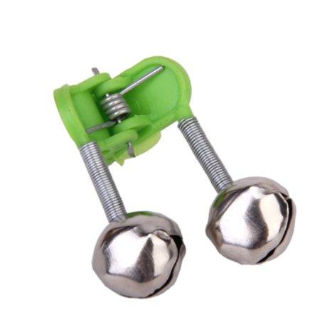 20 Pcs Fishing Rod Alarm Dual Alert Bells Green Silver Tone