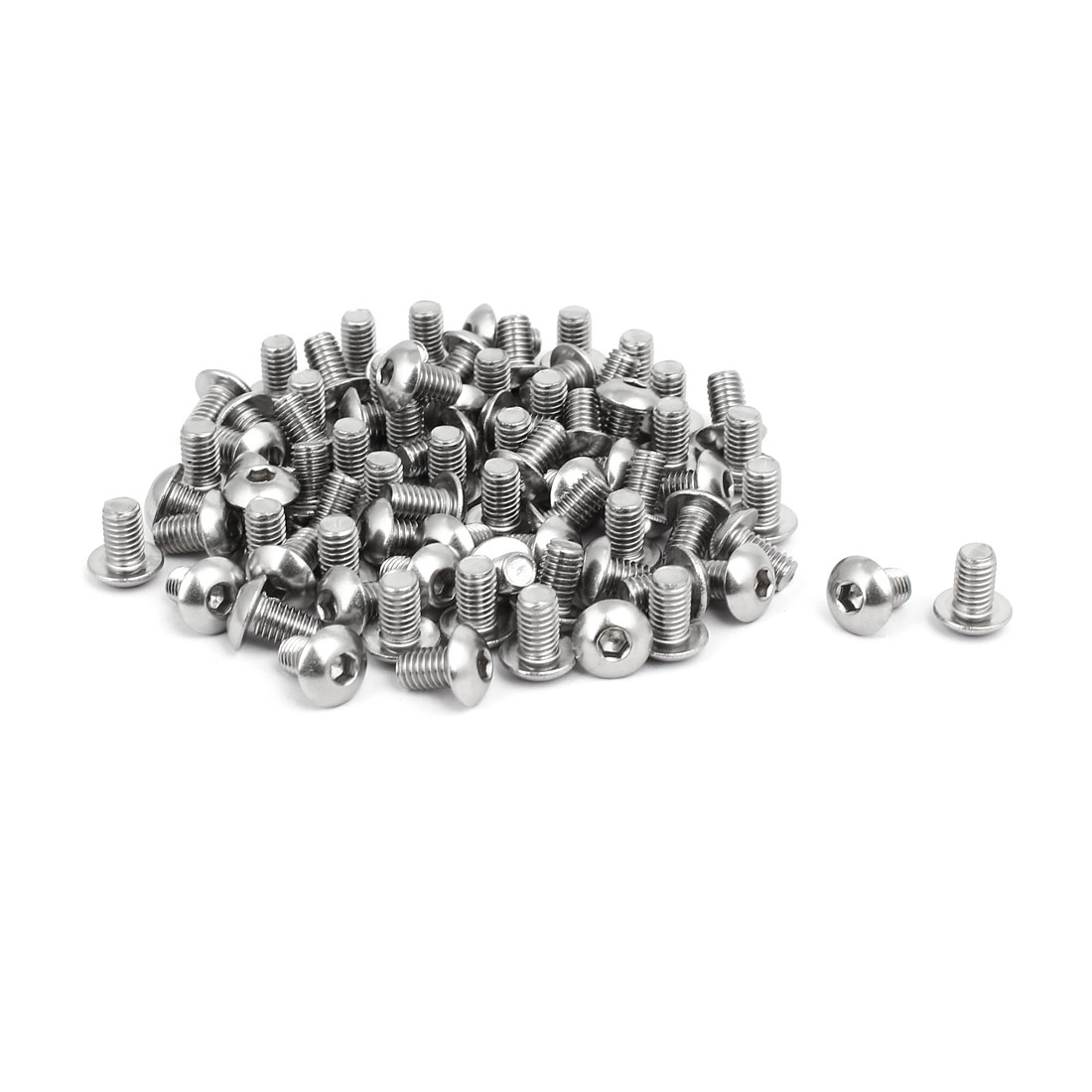 M5x8mm 304 Stainless Steel Button Head Hex Socket Cap Screws Bolts 80pcs - image 3 of 3