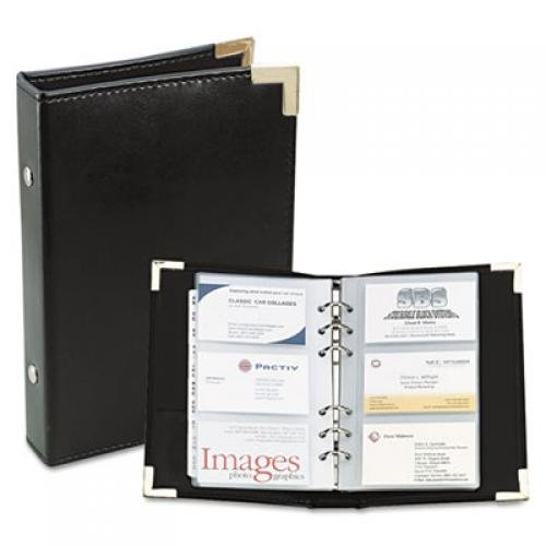 Rolodex Small Business Card Binder with Tabs - Black