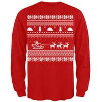 product image santa sleigh ugly christmas sweater red adult long sleeve t shirt - Black Metal Christmas Sweater