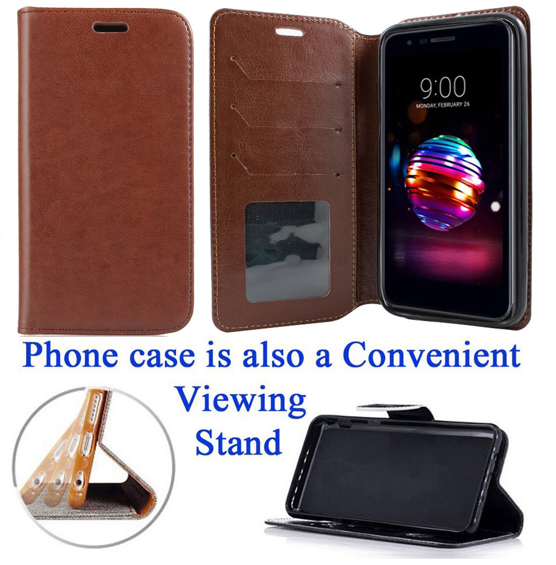 """for 5.3"""" LG K10 2018 K10+ PLUS K10a K30 Case Phone Case Designed Wallet Grip Textured Kick stand Hybrid Pouch Pocket Purse Screen Flip Cover Butterfly Daisy"""