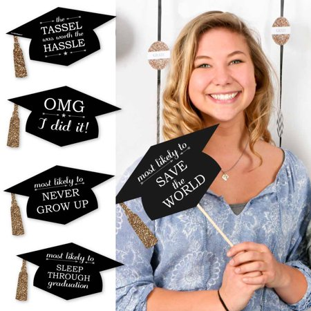 Hilarious Graduation Caps - Gold –-Graduation Photo Booth Prop Kit – 20 Count (Ideas For Decorating Graduation Cap)