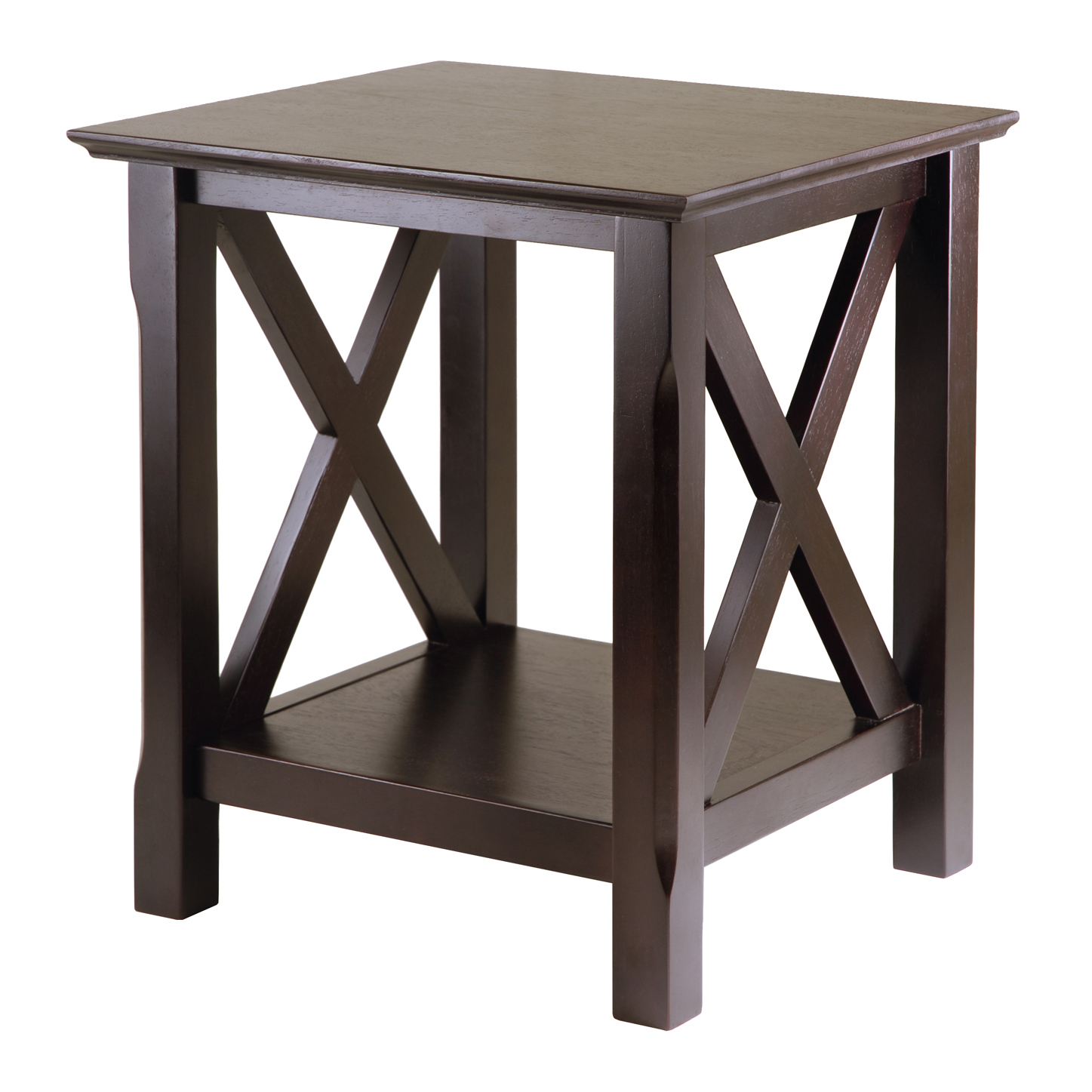 Winsome Wood Xola X Panel End Table, Cappuccino