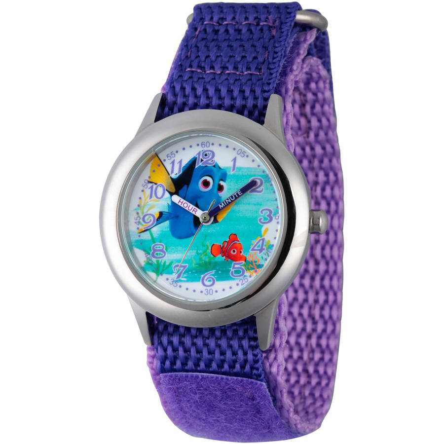 Disney Finding Dory Girls' Stainless Steel Time Teacher Watch, Purple Hook and Loop Nylon Strap