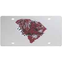 South Carolina Gamecocks Acrylic State Shape Silver Mirror License Plate - No Size