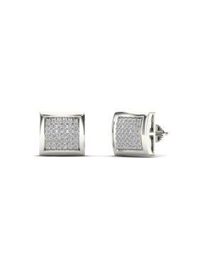 aaXia Men's 14K White Gold 1/6ct TDW Diamond Square Stud Earrings