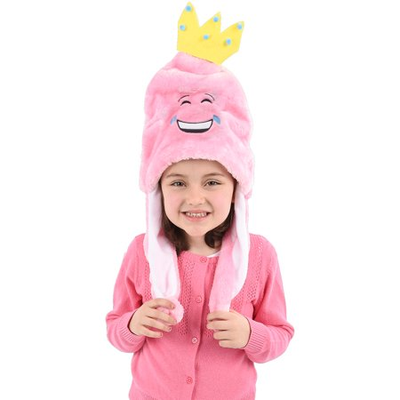Child's Pink Princess Tear Laughing Emoji Emoticon Pom Pom Hat Costume Accessory (Skype Emoticons Halloween)