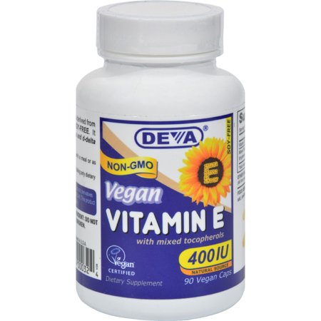 Deva Vegan Vitamin E with Mixed Tocopherols 400 IU Vegan Capsules, 90 Ct