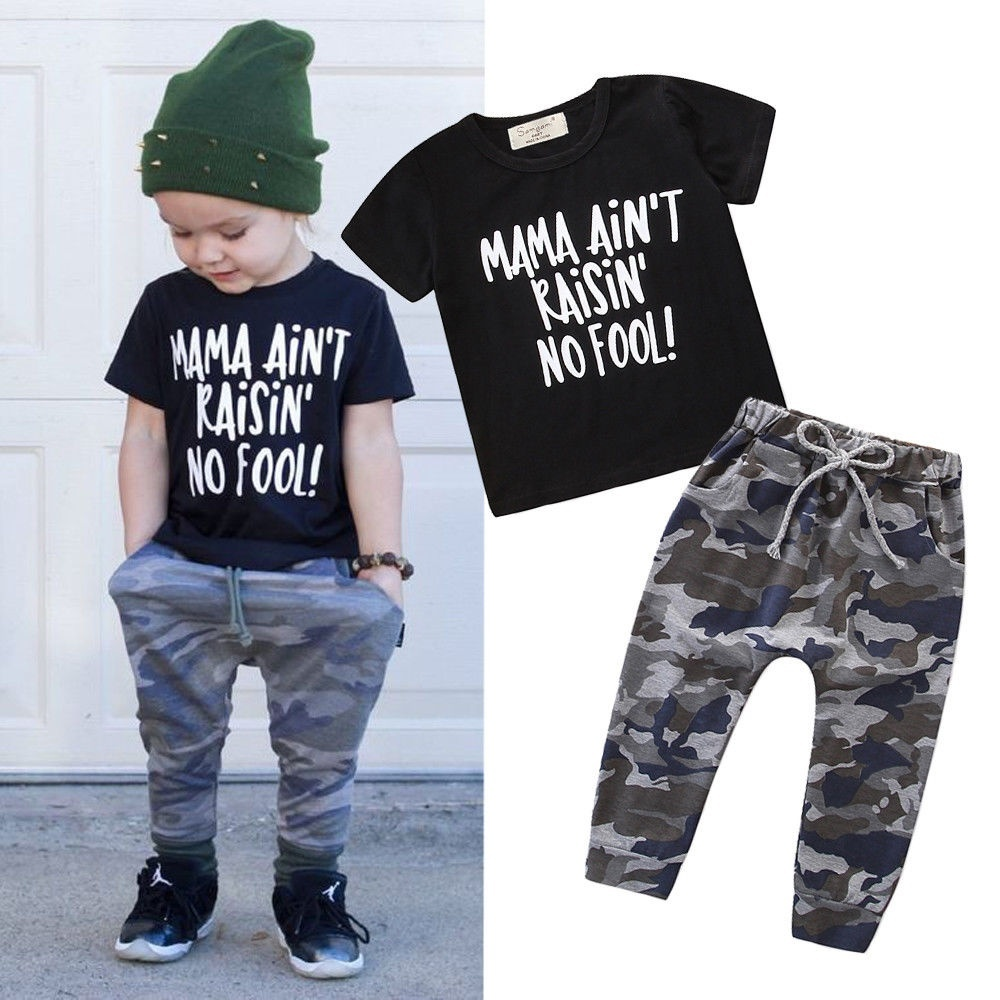 2PCS Toddler Baby Boys Summer Outfits Clothes Casual T,shirt Camo Pants Set  1,6Y