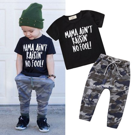 3c7ba2d8df22 2PCS Toddler Baby Boys Summer Outfits Clothes Casual T-shirt ...