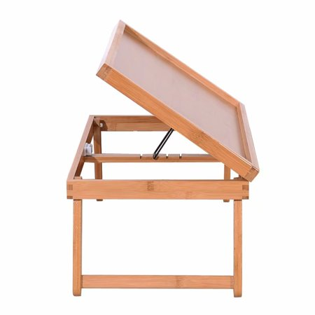 Wood Folding TV Tray & Snack Table, Foldable Adjustable Breakfast Table Tilting Top