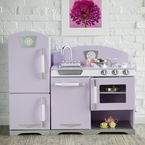 KidKraft Lavender Retro Wooden Play Kitchen and Refrigerator