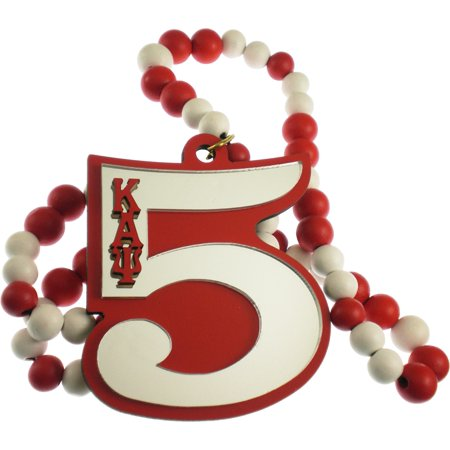 Kappa Alpha Psi Line #5 Mirror Wood Color Bead Tiki Necklace [Red/White - 18