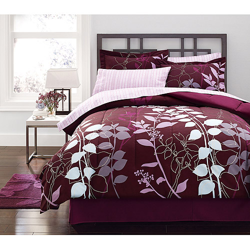 mainstays orkaisi bed in a bag bedding set, purple, twin - walmart