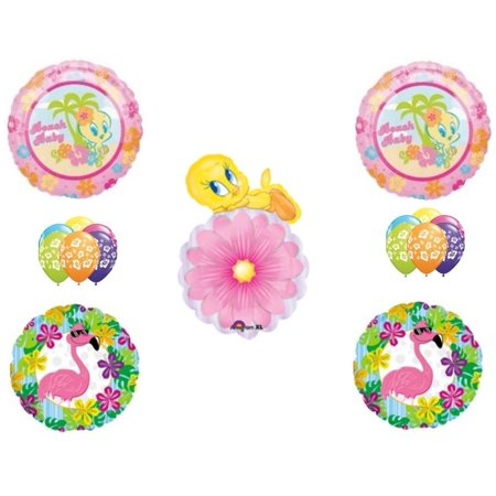 Beach Baby Tweety Bird Birthday Shower Party Balloons Decoration Flamingo