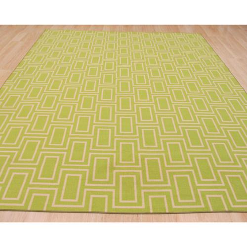 EORC Green Contemporary Geometric Brandon Rug (4'3 x 5'11) - 4'3 x 5'11