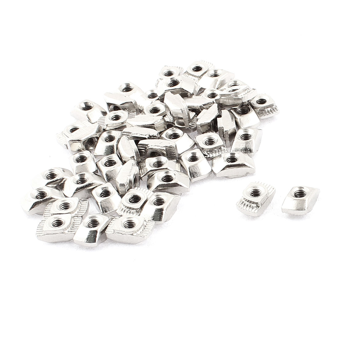 Unique Bargains M3 Female Thread Metal T Slot Hammer Head Drop in Nut Silver Tone 50pcs