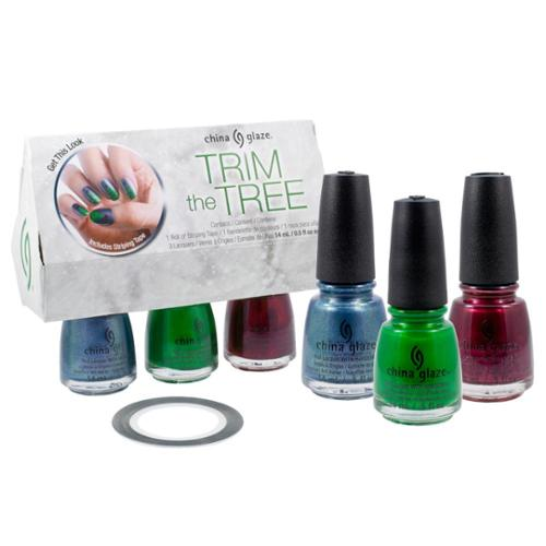 China Glaze Trim The Tree 3 Nail Polish Bottles + Design Tape Holiday Gift Set