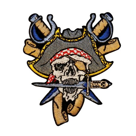 Pirate Skull Face With Dagger Patch Captain Bones Embroidered Iron On Applique