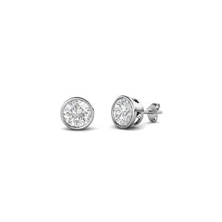 White Sapphire Bezel Set Solitaire Stud Earrings 0.53 cttw in 14K White