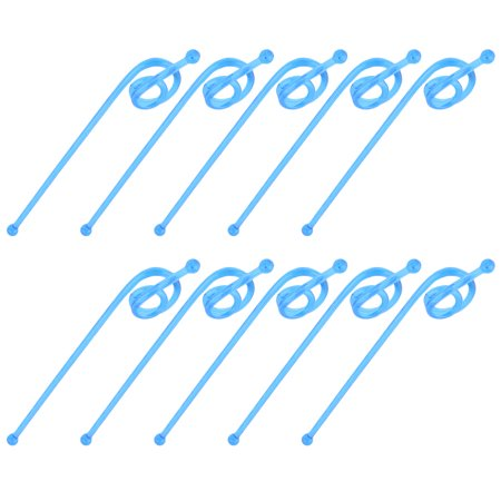Household Plastic Tea Juice Stirring Rod Swirl Swizzle Stick Stirrers Blue 10pcs
