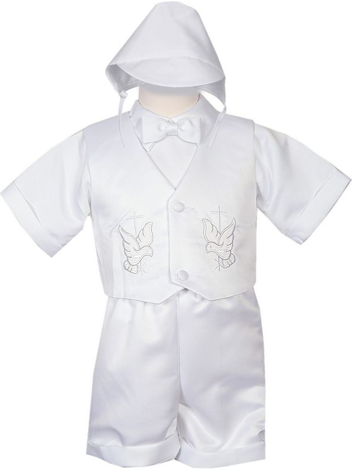 Rafael Collection Little Boys 4 pc Cross Dove Vest Hat Baptism Outfit