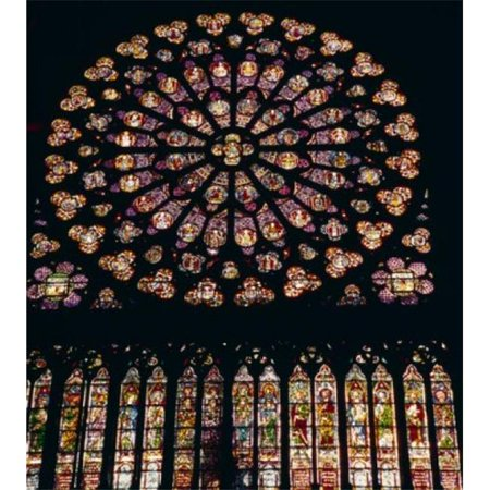 Posterazzi SAL900342917 France Paris Notre Dame de Paris West Window Stained Glass Poster Print - 18 x 24 in.
