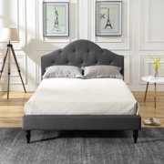 Modern Sleep Winterhaven Upholstered Platform Bed   Headboard and Wood Frame with Wood Slat Support   Grey, Multiple Sizes