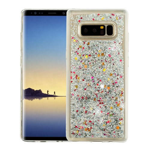 Valor Quicksand Glitter Dual Layer [Shock Absorbing] Hybrid Hard Plastic/Soft TPU Rubber Case Cover For Samsung Galaxy Note 8, Silver