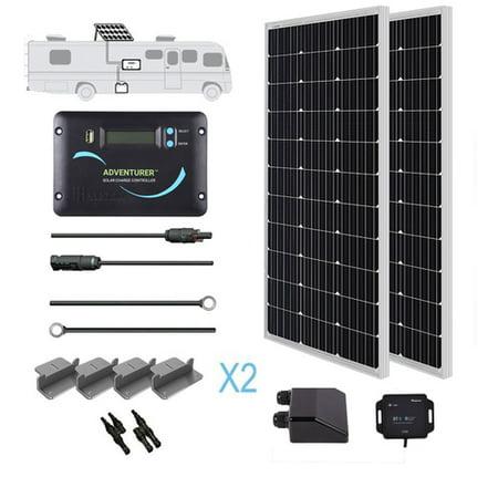 Renogy 200 Watt 12 Volt Monocrystalline Solar RV Kit with 30A adveturer Charge Controller