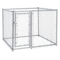 Lucky Dog Galvanized Chain Link Dog Kennel, Silver, Medium, 5'L x 5'W x 4'H