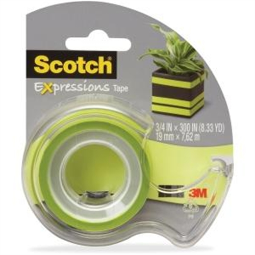 "Scotch Expressions Matte Finish Magic Tape - 0.75"" Width X 25 Ft Length - 1"" Core - Removable, Repositionable, Writable Surface - 1 Roll - Matte Light Green (c214grnd)"