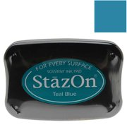 Tsukineko StazOn Ink Pad For Stamps - Teal Blue Color