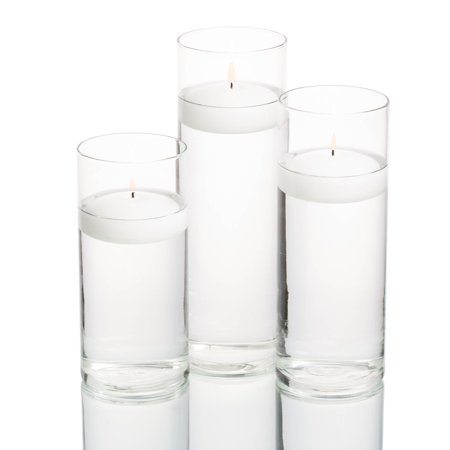 Richland Floating Candles & Eastland Cylinder Holders White Set of 36 - White Lantern Centerpieces