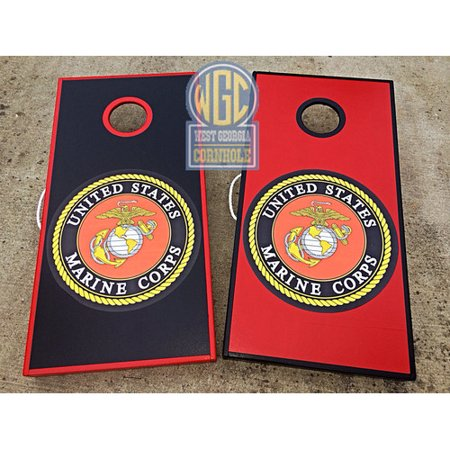 West Georgia Cornhole Marines Cornhole Board With Toss Bags Set