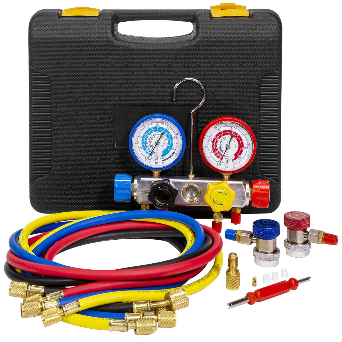 Stark Manifold Gauge Set R410A R22 R404A HVAC A//C Refrigeration Charging Service Diagnostic Refrigerants 5ft Hose