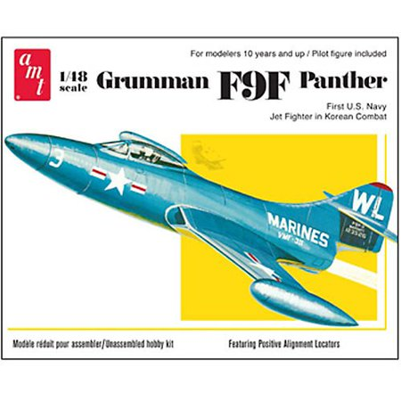 AMT Grumman F9F Panther Fighter Jet 1/48 Scale Airplane Model Building Kit, Skill Level 2,for ages 10 and up,Needs Assembly By AMT (Level 2 Model Kit)