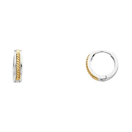 - FB Jewels 14K White Yellow And White Tri Color Gold Design Plain Huggie Endless Hoop Womens Earrings 11MM X 11MM