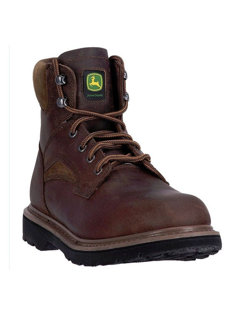 "John Deere Western Boots Mens 6"" Steel Toe Lace Up EH Brown JD6394 by John Deere"