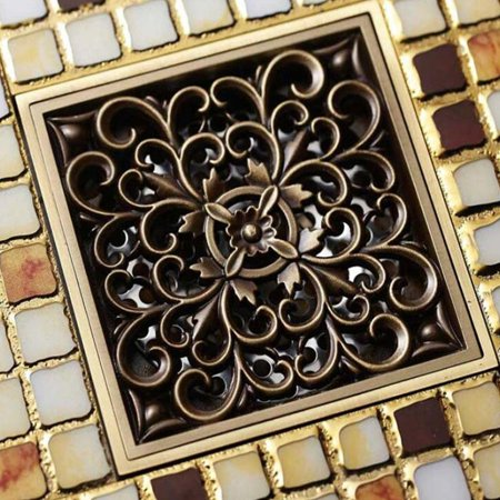 Moaere 6 Inch Square Shower Floor Drain with Removal Grate Made of Brass