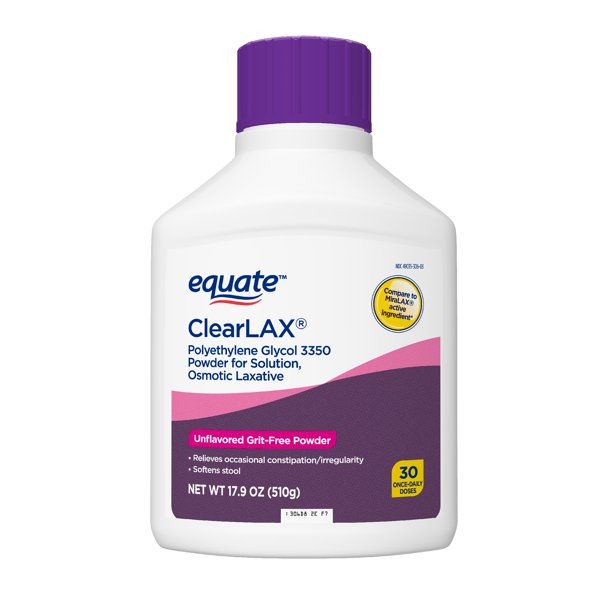 Equate ClearLAX Polyethylene Glycol 3350 Laxative Powder, 17.9 Oz, 30 Ct