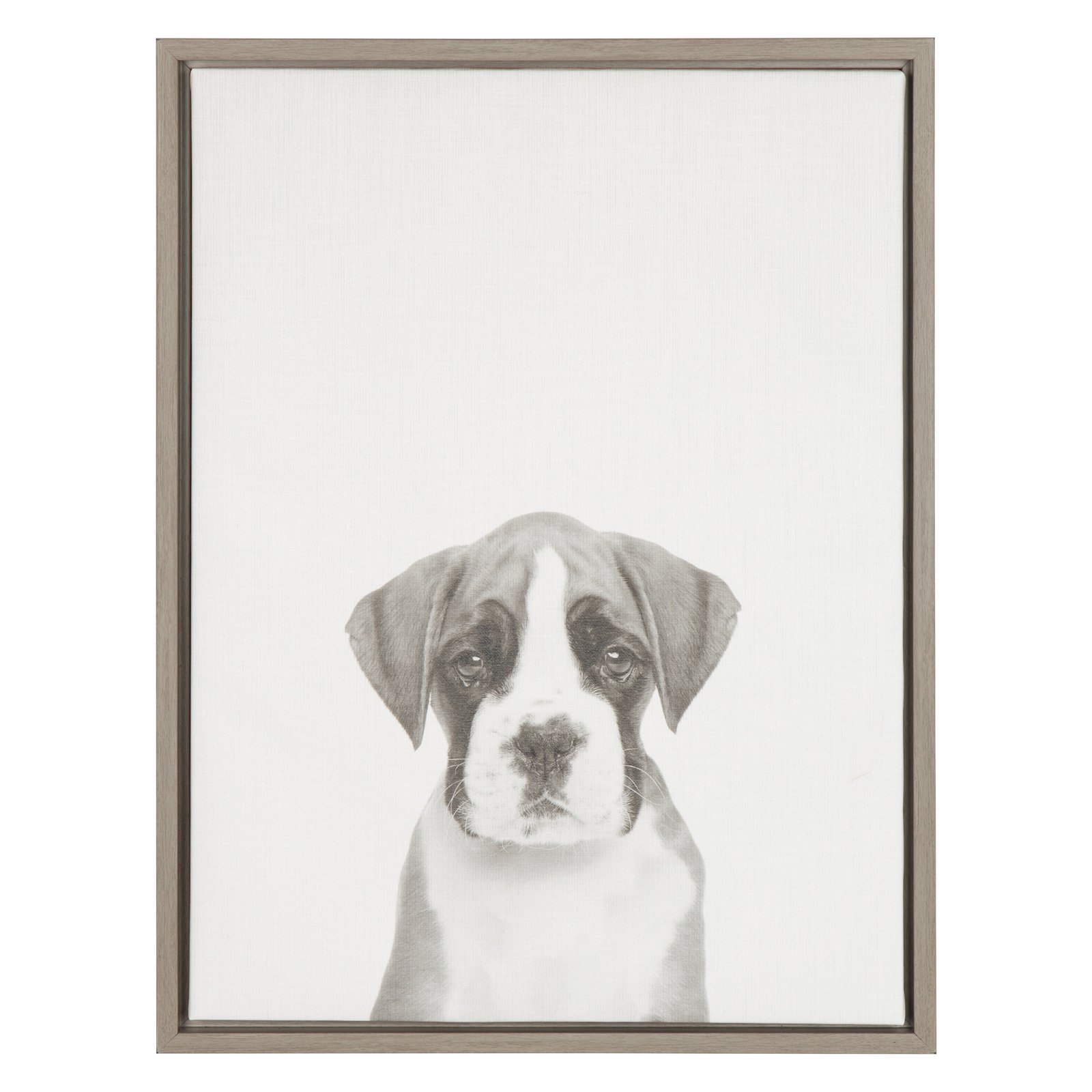 Kate and Laurel Sylvie Boxer Puppy Framed Canvas Wall Art