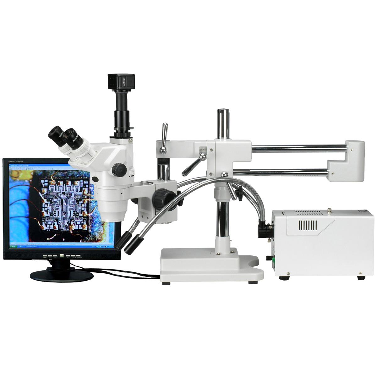AmScope 2X-225X Trinocular Stereo Zoom Microscope + 5MP Digital Camera by United Scope
