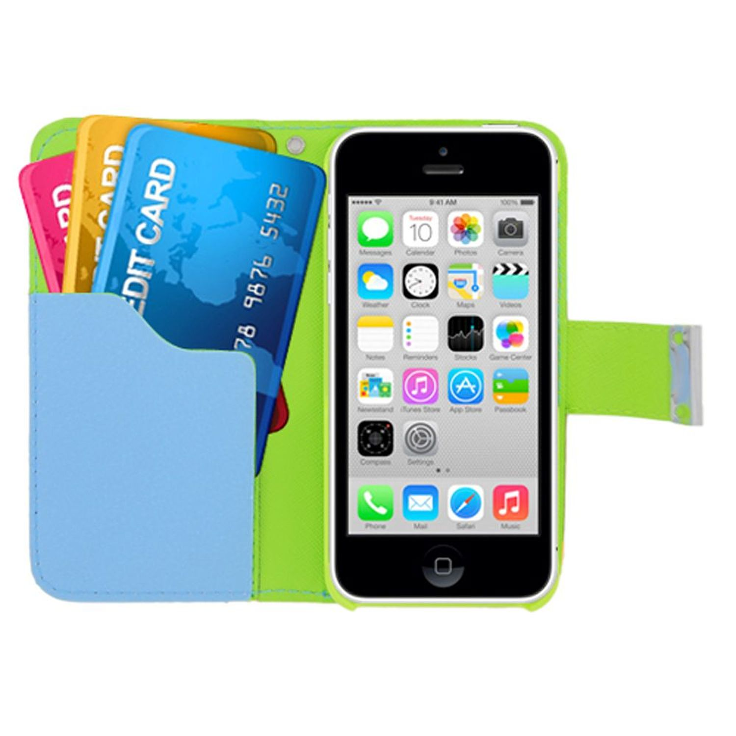 insten Multicolor Book-Style Leather [Card Slot] Wallet Flap Pouch Case Cover For Apple iPhone 5C, Green/Blue