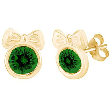 Round Shape Simulated Green Emerald Minnie Mouse Bow Stud Earrings 14K Yellow Gold Over Sterling Silver ()