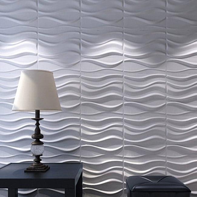 Art3d A21031 Decorative 3d Wavy Wall Panels 19 7 X19 7 White 12 Tiles 32 Sf Walmart Com Walmart Com